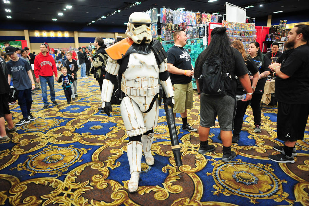 TD-22766, a member of the Star Wars Community the 501st Legion, cosplays as a desert storm trooper from Star Wars Episode 4 at the Las Vegas Toy and Comic Convention at the Westgate Resort and Cas ...