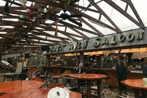 This photo shows some damage at the Buck Wild Saloon, located on U.S. Highway 280, east of Smiths Station, Ala., Sunday, March 3, 2019, after a powerful storm system passed through the area. (Kara ...