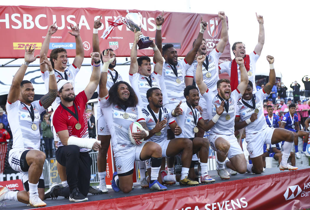 USA players celebrate their victory over Samoa in the Cup Final match at the USA Sevens Rugby Tournament at Sam Boyd Stadium in Las Vegas on Sunday, March 3, 2019. (Chase Stevens/Las Vegas Review- ...