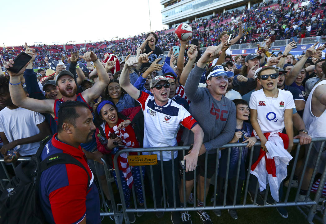 USA fans celebrate their team's victory over Samoa in the Cup Final match at the USA Sevens Rugby Tournament at Sam Boyd Stadium in Las Vegas on Sunday, March 3, 2019. (Chase Stevens/Las Vegas Rev ...