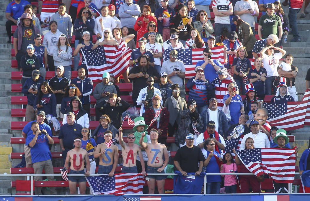 USA fans cheer during the Cup Final match between USA and Samoa in the USA Sevens Rugby Tournament at Sam Boyd Stadium in Las Vegas on Sunday, March 3, 2019. (Chase Stevens/Las Vegas Review-Journa ...
