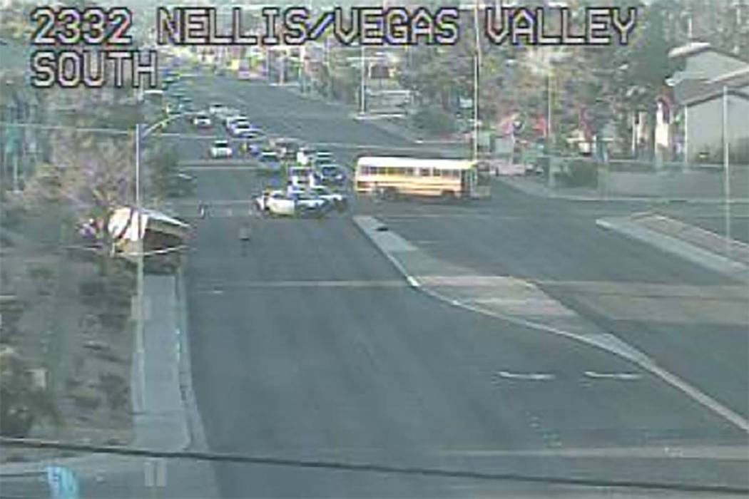 A crash at Nellis Boulevard and Vegas Valley drive has closed all lanes on Nellis, Monday, March 4, 2019. (RTC Cameras)