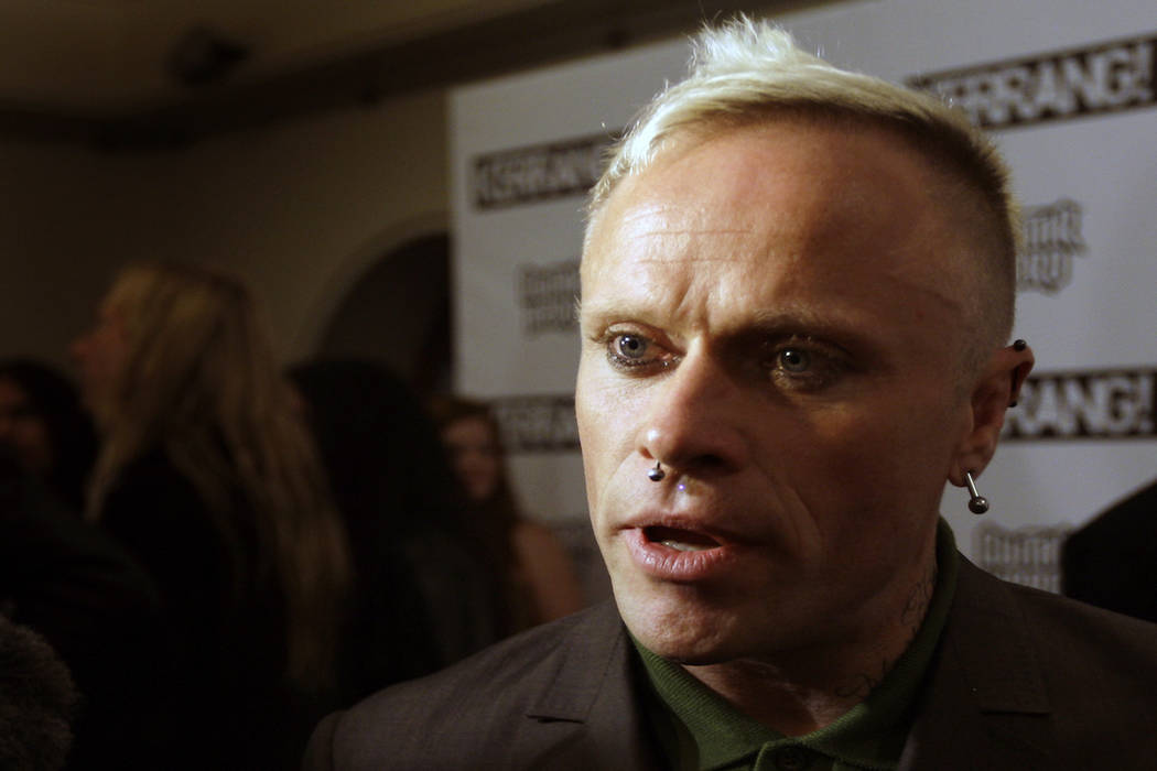 British musician Keith Flint of Prodigy talks to the media after winning the best single for 'Omen' at the Kerrang Awards 2009, at the Brewery in London, Monday, Aug. 3, 2009. (AP Photo/Joel Ryan)