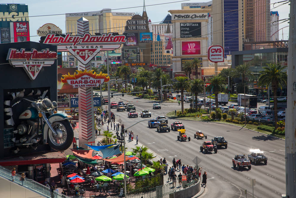 Mint 400 race vehicles participate in the annual vehicle procession down the Las Vegas Strip. (Mint 400)
