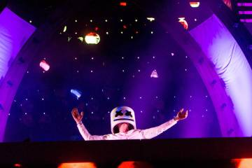 Artist Marshmello preforms on the stage cosmicMEADOW the third night of Electric Daisy Carnival at Las Vegas Motor Speedway early Monday morning, June 20, 2016. (Elizabeth Brumley//Las Vegas Revi ...