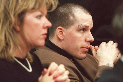 Kevin Lisle sits with his attorney Rebecca Blaskey as the verdict is read in his 1996 murder trial. (Las Vegas Review-Journal)