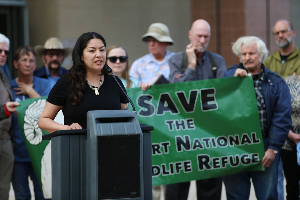 Fawn Douglas, appointed representative of the Las Vegas Band of Paiutes, speaks during the Don't BombThe Bighorn Rally and Public Hearing at the Grant Sawyer State Office Building in Las Vegas, Tu ...