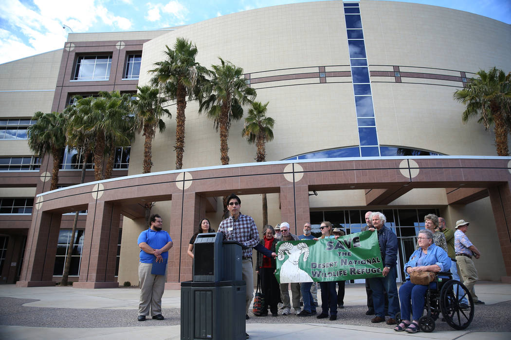 Jose Witt of Friends of Nevada Wilderness speaks during the Don't BombThe Bighorn Rally and Public Hearing at the Grant Sawyer State Office Building in Las Vegas, Tuesday, March 5, 2019. (Erik Ver ...