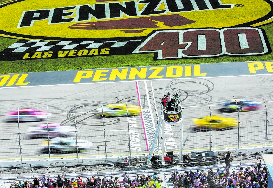 Racers compete in the Monster Energy NASCAR Cup Series Pennzoil 400 on Sunday, March 3, 2019, at Las Vegas Motor Speedway, in Las Vegas. (Benjamin Hager Review-Journal) @BenjaminHphoto