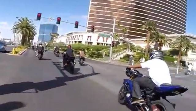 Las Vegas police on Monday showed state lawmakers a YouTube video of motorcyclists speeding, running red lights and performing stunts on the Strip in 2017. A proposed law backed by police would ma ...