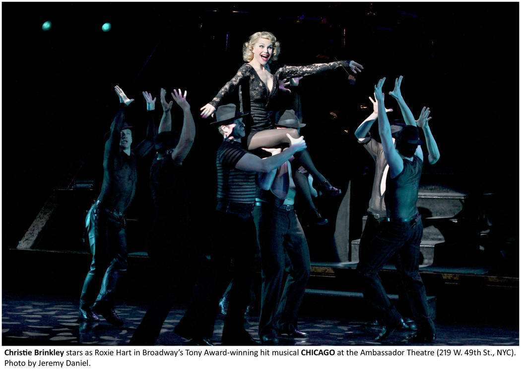 """Christie Brinkley is shown playing Roxie Hart in """"Chicago,"""" which performs for seven shows at the Venetian Theater in April. (The Publicity Lab)"""