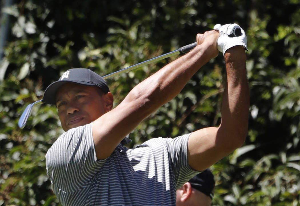 Tiger Woods hits the ball during a practice prior the WGC-Mexico Championship at the Chapultepec Golf Club in Mexico City, Wednesday, Feb. 20, 2019. (AP Photo/Marco Ugarte)