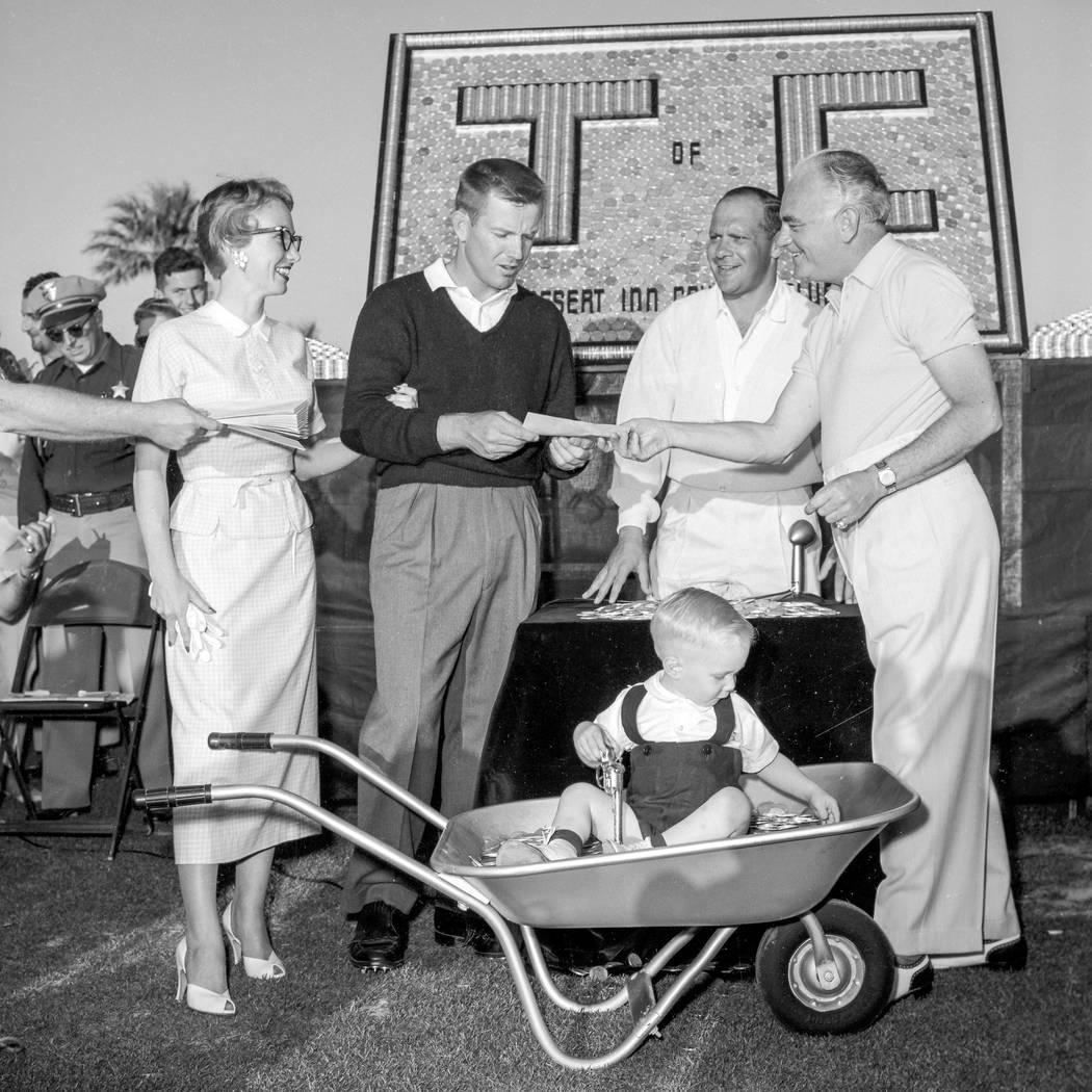 Gene Littler won three straight Tournament of Champions from 1955-57, which was played at the Desert Inn. Pictured are Shirley Littler, Gene Littler, tournament chairman Allard Roen and Desert Inn ...