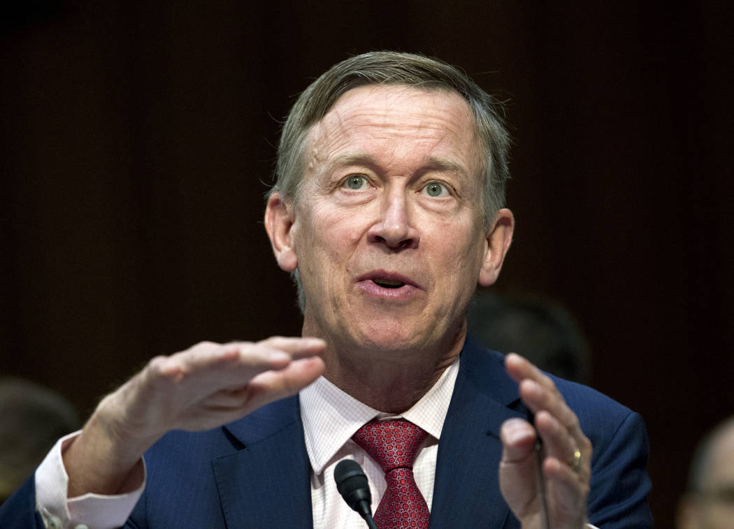 FILE - In this Thursday, Sept. 7, 2017 file photo, Colorado Governor John Hickenlooper speaks during a Senate hearing on Capitol Hill in Washington. Hickenlooper said on Monday he's running for pr ...
