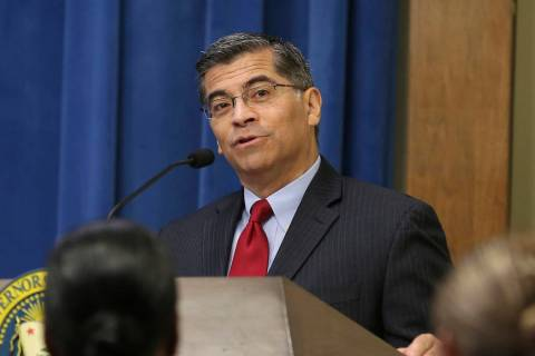 Attorney General Xavier Becerra speaks at the annual Governor's Public Safety Officer Medal of Valor ceremony Monday, Oct. 29, 2018, in Sacramento, Calif. (AP Photo/Rich Pedroncelli)