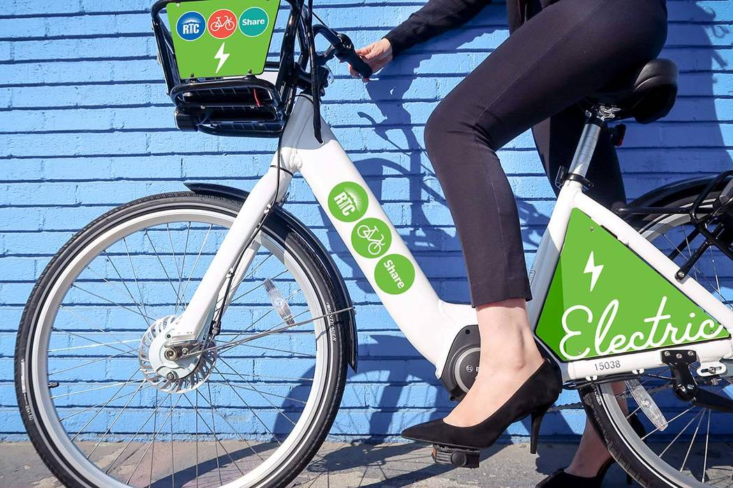 Five electric pedal assist bikes were introduced to the Regional Transportation Commission of Southern Nevada's downtown bike share fleet Monday, beginning a two-week trial run. (Regional Transp ...