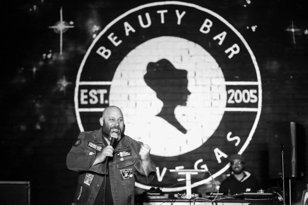 Sage Francis performs at Beauty Bar during the second night of the Neon Reverb music festival in downtown in Las Vegas on Friday, March 11, 2016. The festival runs through Sunday, with dozens of b ...