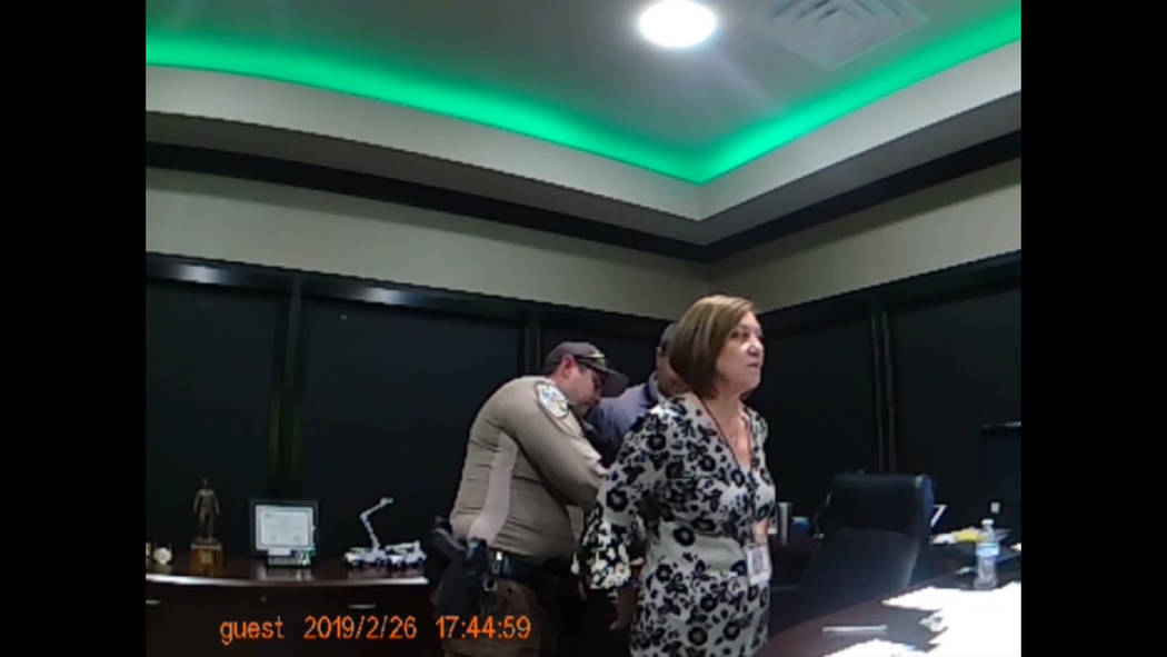 Nye County Sheriff's Office body-cam footage show Valley Electric Association CEO Angela Evans being arrested at the co-op's administrative offices at 800 E. Highway 372 in Pahrump on Feb. 26, 201 ...