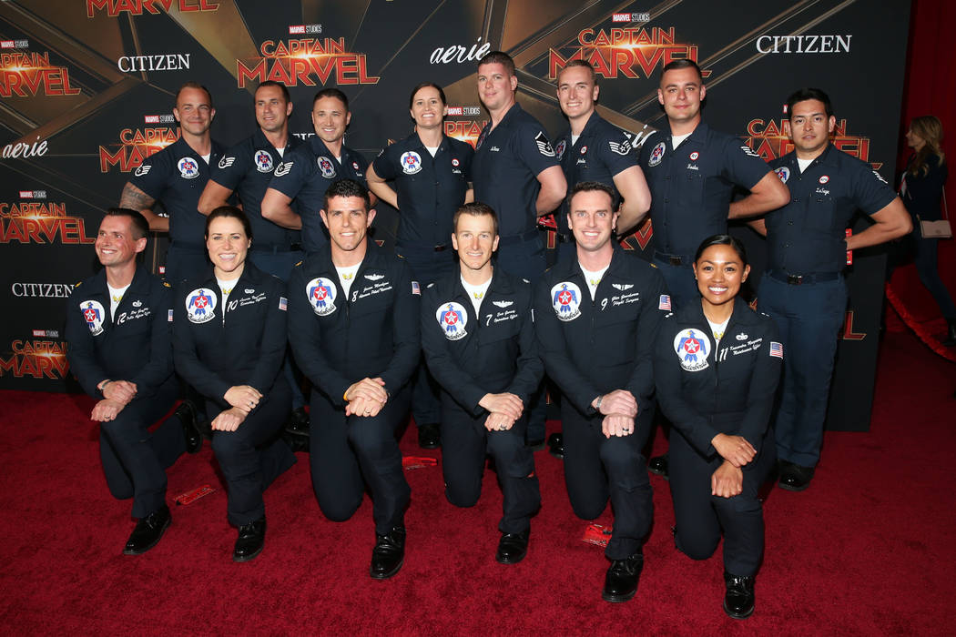 """U.S. Air Force Thunderbirds attend the Los Angeles World Premiere of Marvel Studios' """"Captain Marvel"""" at Dolby Theatre on March 4, 2019 in Hollywood, California. (Jesse Grant/Getty Images for Disney)"""