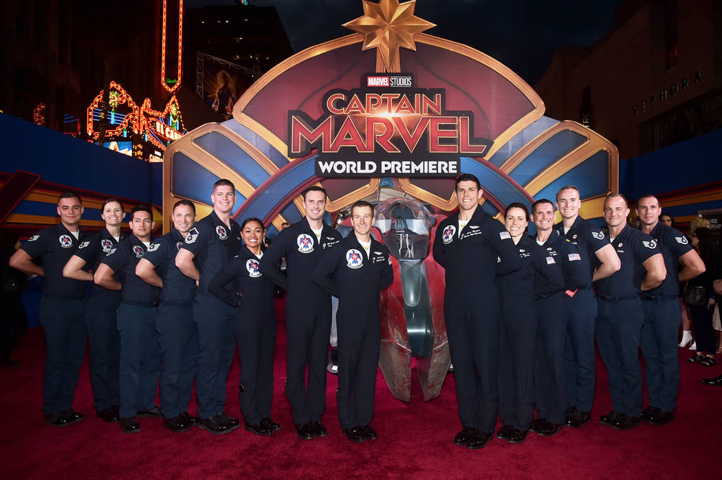 """U.S. Air Force Thunderbirds attend the Los Angeles World Premiere of Marvel Studios' """"Captain Marvel"""" at Dolby Theatre on March 4, 2019 in Hollywood, California. (Alberto E. Rodriguez/Getty Image ..."""