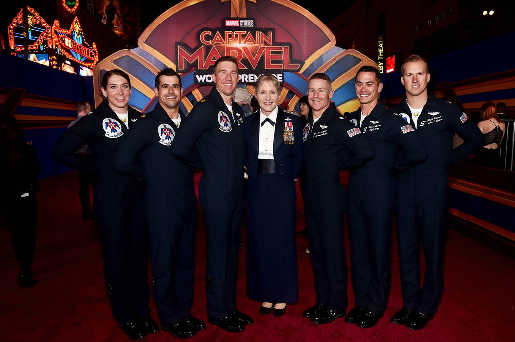 "Brigadier Gen. Jeannie M. Leavitt, center, and U.S. Air Force Thunderbirds attend the Los Angeles World Premiere of Marvel Studios' ""Captain Marvel"" at Dolby Theatre on March 4, 2019 in Hollywood, ..."