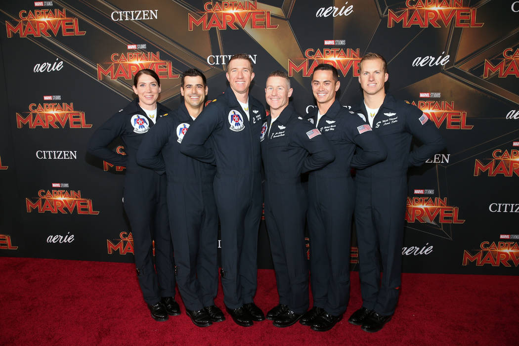 """Air Force Thunderbirds pilots attend the Los Angeles World Premiere of Marvel Studios' """"Captain Marvel"""" at Dolby Theatre on March 4, 2019 in Hollywood, California. (Jesse Grant/Getty Images for D ..."""