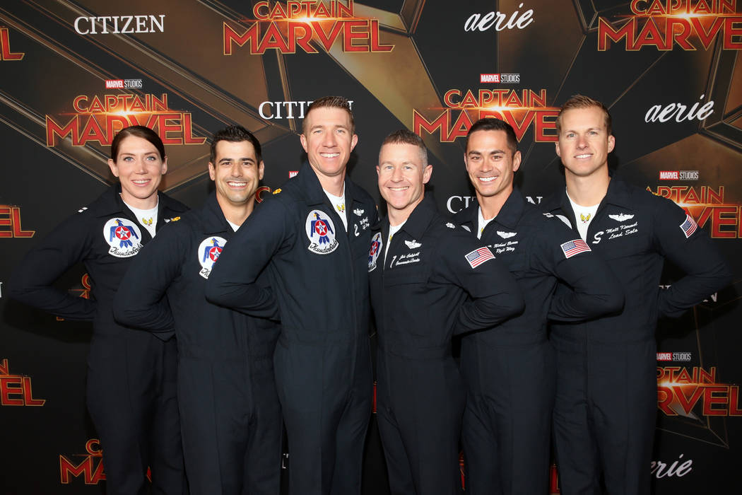 """Air Force Thunderbirds pilots attend the Los Angeles World Premiere of Marvel Studios' """"Captain Marvel"""" at Dolby Theatre on March 4, 2019 in Hollywood, California. (Jesse Grant/Getty Images for Di ..."""