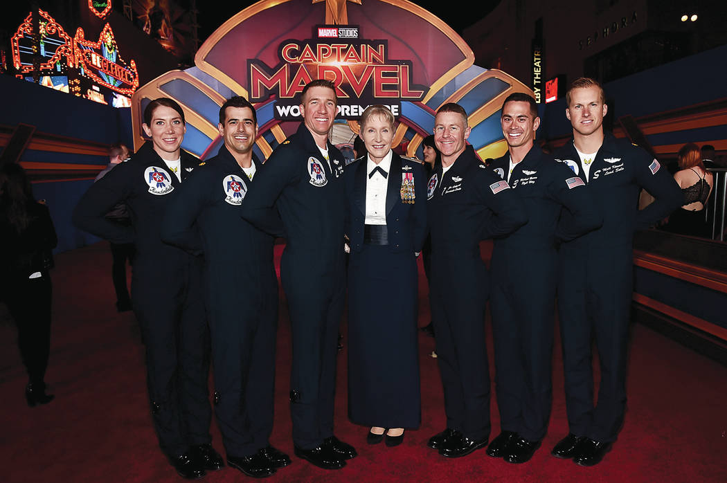 "HOLLYWOOD, CA - MARCH 04: Brigadier General Jeannie M. Leavitt (C) and U.S. Air Force Thunderbirds attend the Los Angeles World Premiere of Marvel Studios' ""Captain Marvel"" at Dolby The ..."