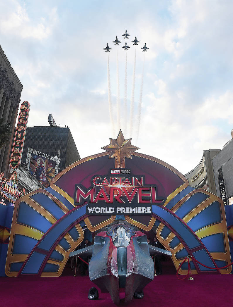 """The U.S. Air Force Thunderbirds fly over the world premiere of """"Captain Marvel"""" on Monday, March 4, 2019, at the El Capitan Theatre in Los Angeles. (Photo by Jordan Strauss/Invision/AP)"""