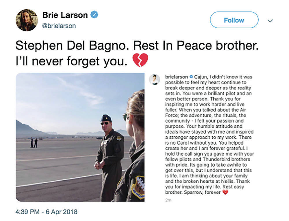 """Twitter Brie Larson shared a photo of herself with Maj. Stephen """"Cajun"""" Del Bagno on social media along with a tribute to th ..."""
