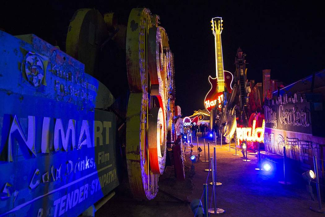 The Hard Rock Cafe guitar sign is illuminated for the first time in public during a special event at the Neon Museum in Las Vegas on Monday, March 4, 2019. (Chase Stevens/Las Vegas Review-Journal) ...