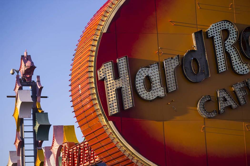 A view of the lettering on the Hard Rock Cafe guitar sign in early morning light as the installation continues at the Neon Museum in Las Vegas on Friday, Feb. 1, 2019. (Chase Stevens/Las Vegas Rev ...