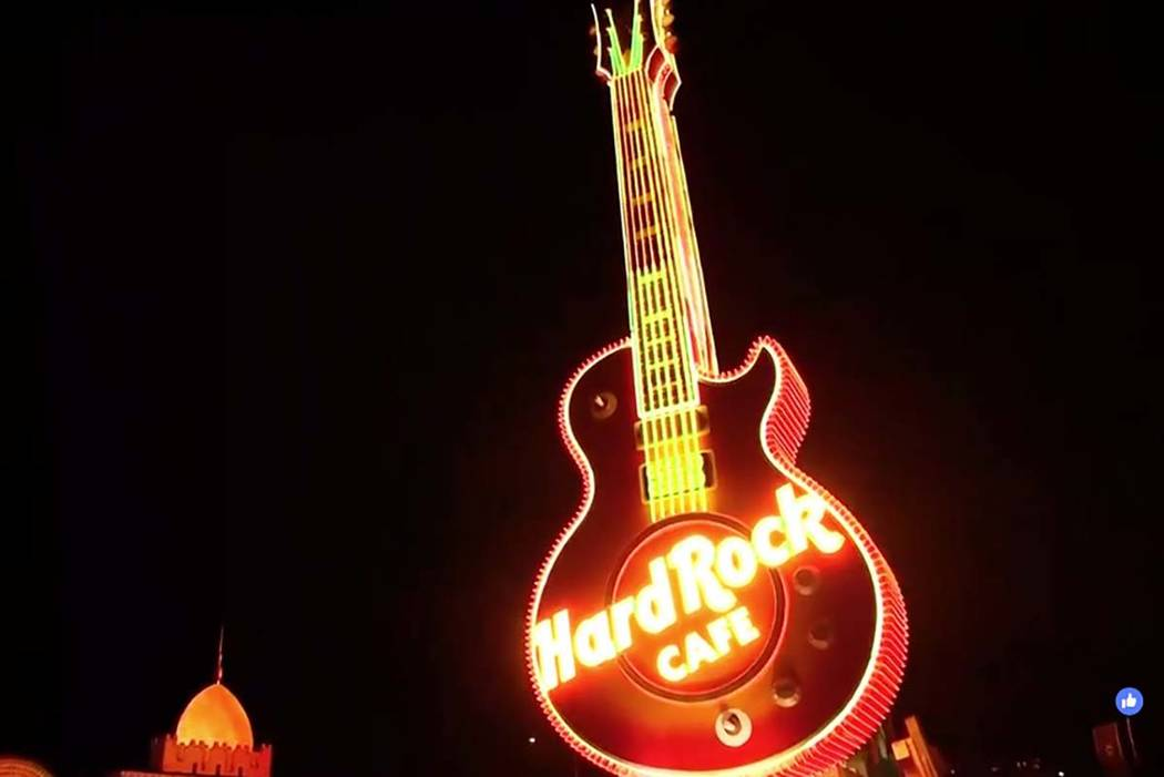 The Hard Rock Cafe guitar sign is lighted up Monday, March 4, 2019, at the Neon Museum in Las Vegas. (Las Vegas Review-Journal)