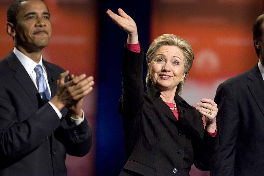 Sen. Hillary Clinton D-N.Y., is introduced before the start of the Nevada Democratic Party Presidential Candidates Debate at Cashman Center in Las Vegas Tuesday, Jan. 15, 2008. Then-presidential c ...