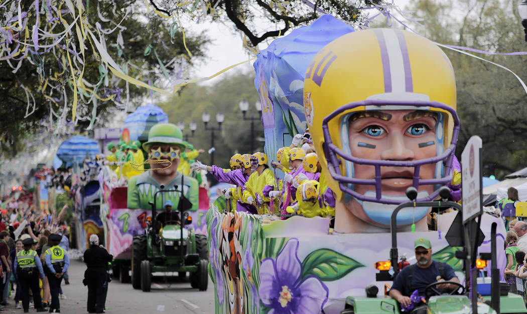 The Krewe of Okeanos 2019 rolls along the Uptown route in New Orleans, La. Sunday, March 3, 2019. Okeanos is named for the Greek god of oceans and fertile valleys and is sponsored by the Sonaeko ( ...