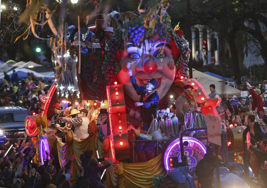 "The Title Float rolls down Napoleon Avenue as the 1,600 men of Bacchus present their 32-float Mardi Gras parade entitled ""Starring Louisiana"" on the Uptown route in New Orleans on Sunday ..."