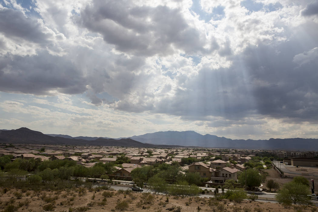 It will be partly cloudy and warm in the Las Vegas Valley on Tuesday with rain starting later tonight. (Patrick Connolly/Las Vegas Review-Journal) @PConnPie