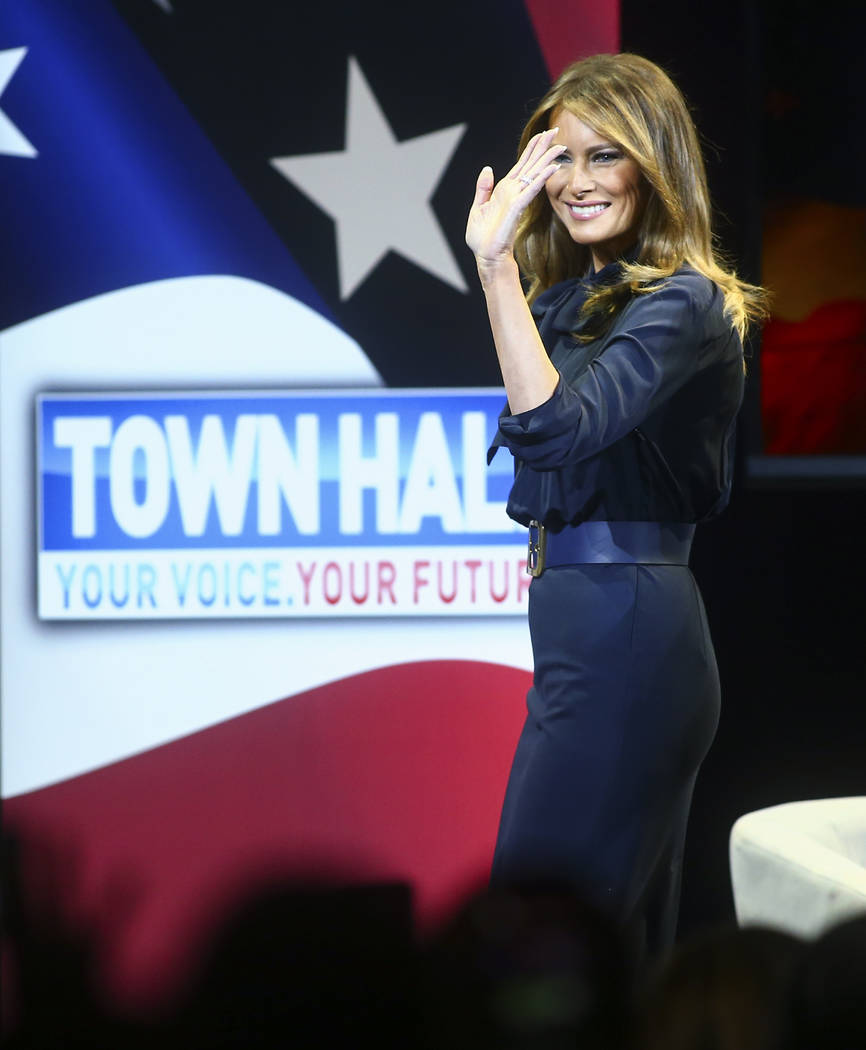 First lady Melania Trump arrives to speak at a town hall about opioid addiction as part of her Be Best campaign at the Westgate Theater in Las Vegas on Tuesday, March 5, 2019. (Chase Stevens/Las V ...