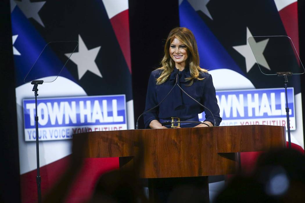 First lady Melania Trump speaks during a town hall about opioid addiction as part of her Be Best campaign at the Westgate Theater in Las Vegas on Tuesday, March 5, 2019. (Chase Stevens/Las Vegas R ...