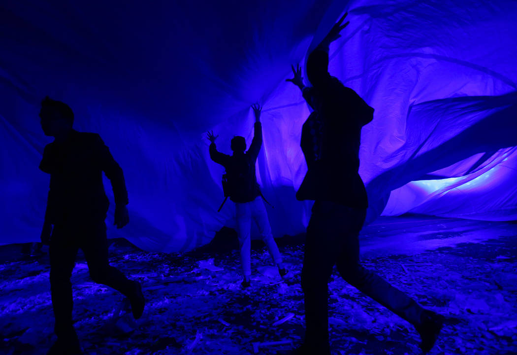 "Cast members in ""Fuerza Bruta"" perform as part of a media preview at the show's tent outside of the Excalibur in Las Vegas on Wednesday, March 6, 2019. The show, which takes place inside ..."