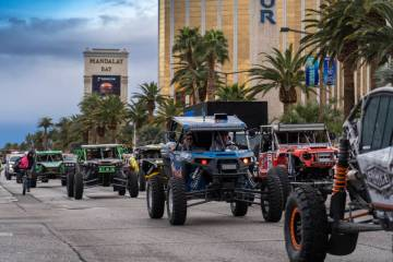 Off-road race vehicle roll down the Las Vegas Strip during the Mint 400 parade on Wednesday, March 6, 2019. (Courtesy)