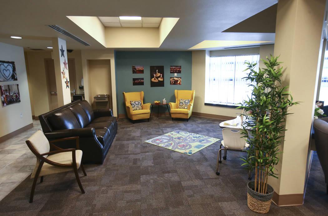 The lobby at the Vegas Strong Resiliency Center in Las Vegas. (Chase Stevens/Las Vegas Review-Journal) @csstevensphoto