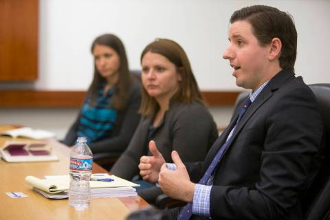 Then-Nevada Achievement School District Deputy Superintendent Brett Barley, right, talks to the Las Vegas Review-Journal editorial board on Nov. 28, 2016. He is among six finalists for the Nevada ...