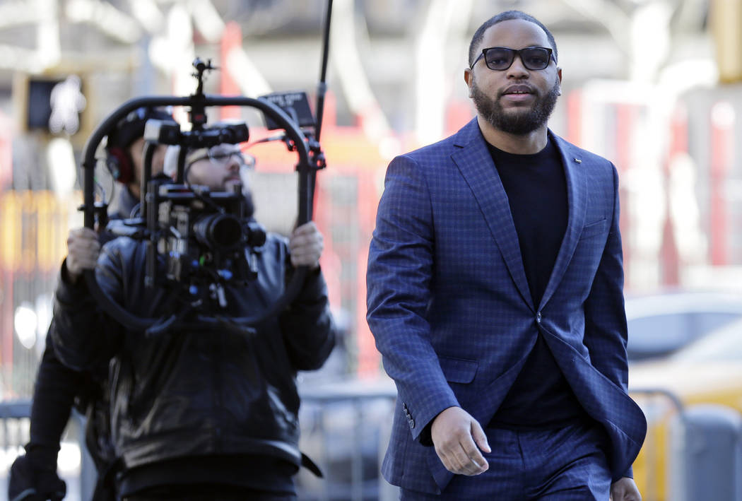 Business manager Christian Dawkins arrives to court in New York, Tuesday, March 5, 2019. (AP Photo/Seth Wenig)