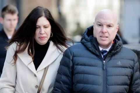 Former Adidas executive James Gatto and his wife Rachel Gatto arrives to court in New York, Tuesday, March 5, 2019. (AP Photo/Seth Wenig)