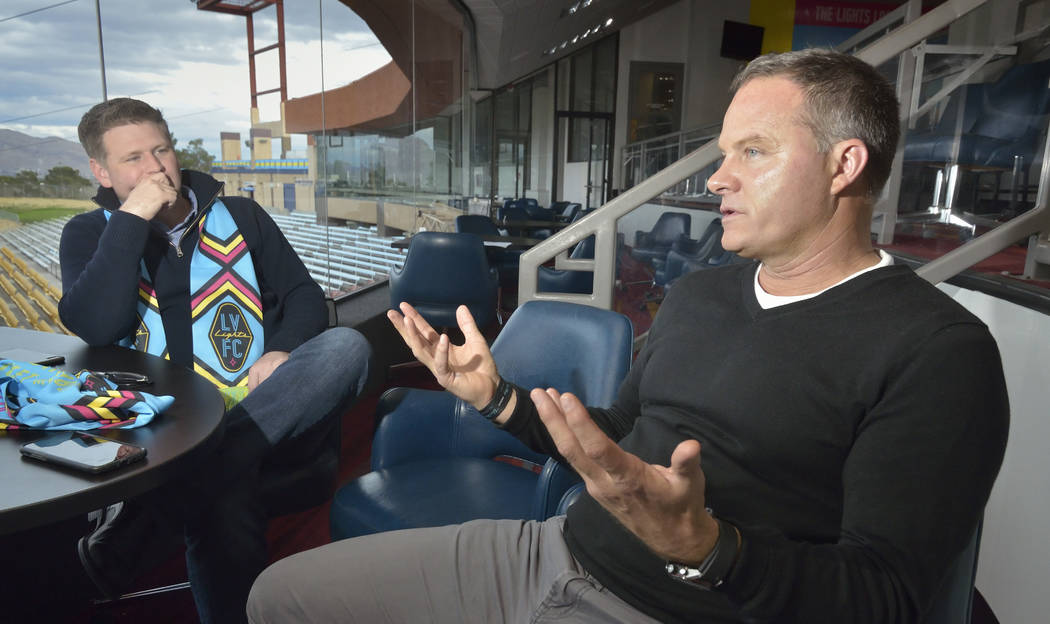 Las Vegas Lights FC owner Brett Lashbrook, left, and head coach Eric Wynalda are shown during an interview at Cashman Field at 850 N. Las Vegas Blvd. in Las Vegas on Wednesday, March. 6, 2019. (Bi ...