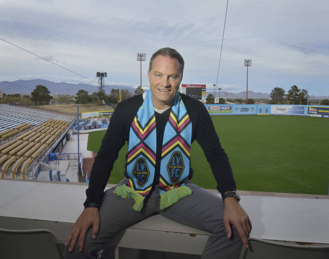 Las Vegas Lights FC head coach Eric Wynalda is shown at Cashman Field at 850 N. Las Vegas Blvd. in Las Vegas on Wednesday, March. 6, 2019. (Bill Hughes/Las Vegas Review-Journal)
