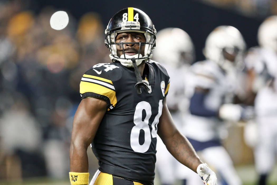 In this Dec. 2, 2018, file photo, Pittsburgh Steelers wide receiver Antonio Brown (84) plays against the Los Angeles Chargers in an NFL football game, in Pittsburgh. Antonio Brown wants out of Pit ...