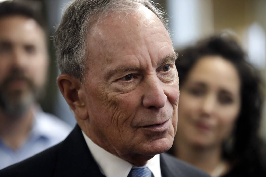 FILE - In this Jan. 29, 2019 file photo, Michael Bloomberg speaks to workers during a tour of the WH Bagshaw Company, a pin and precision component manufacturer, in Nashua, N.H. Bloomberg is not r ...