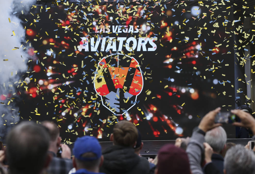 The name of Las Vegas' Triple-A baseball team is unveiled at Downtown Summerlin in Las Vegas on Saturday, Dec. 8, 2018. The minor league baseball team formerly called the 51s will debut at its new ...